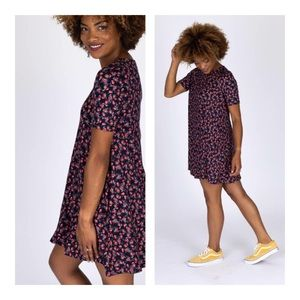 Baby Suede Swing Tunic Dress Black Floral